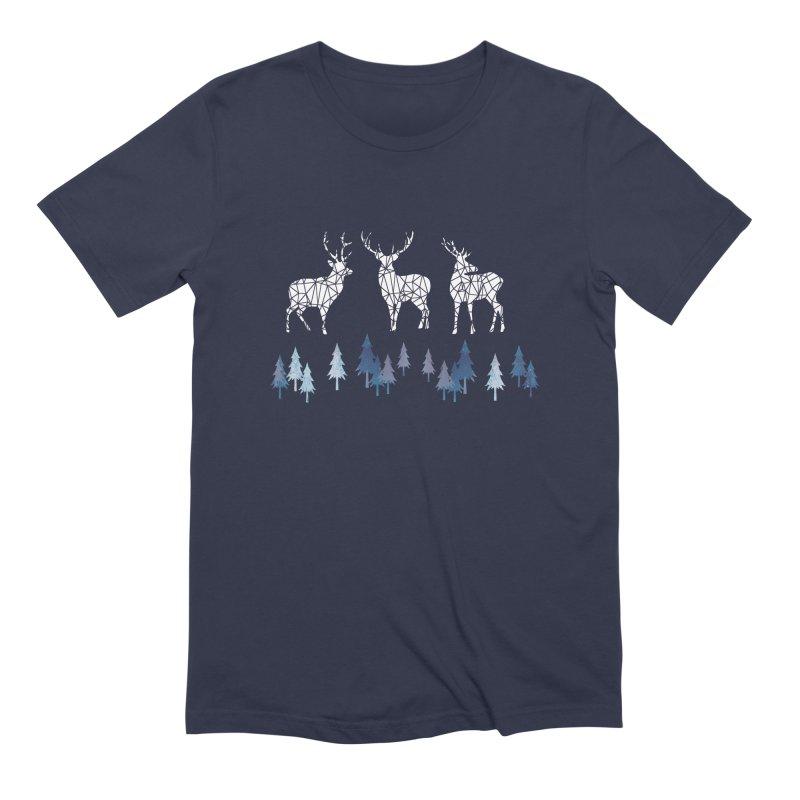 Snow deer navy blue Men's Extra Soft T-Shirt by AdenaJ