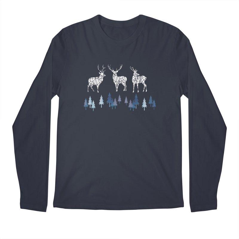 Snow deer navy blue Men's Regular Longsleeve T-Shirt by AdenaJ