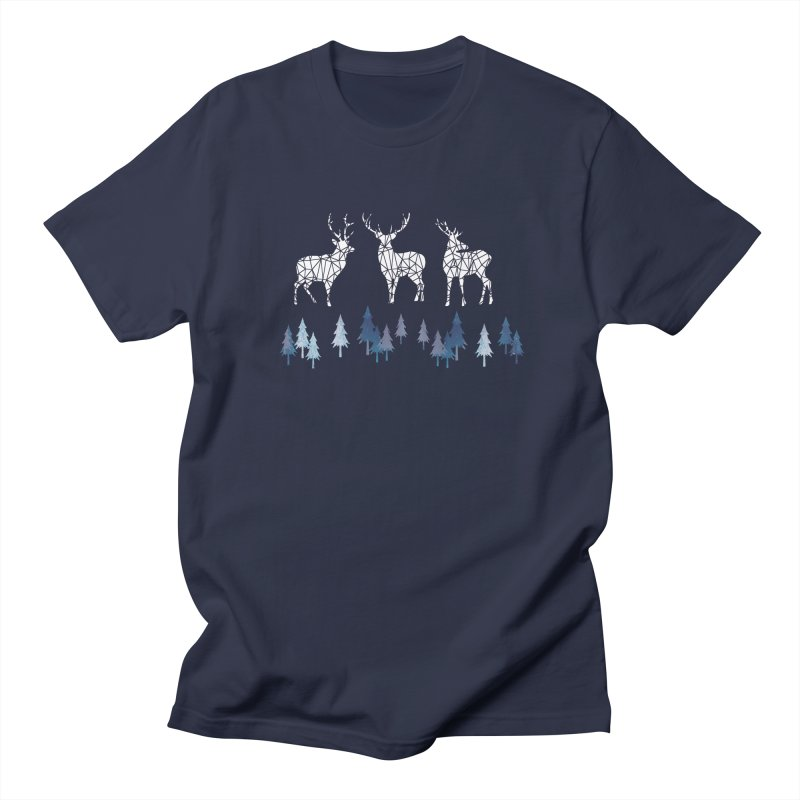 Snow deer navy blue Men's Regular T-Shirt by AdenaJ
