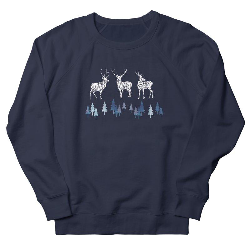 Snow deer navy blue Women's French Terry Sweatshirt by AdenaJ