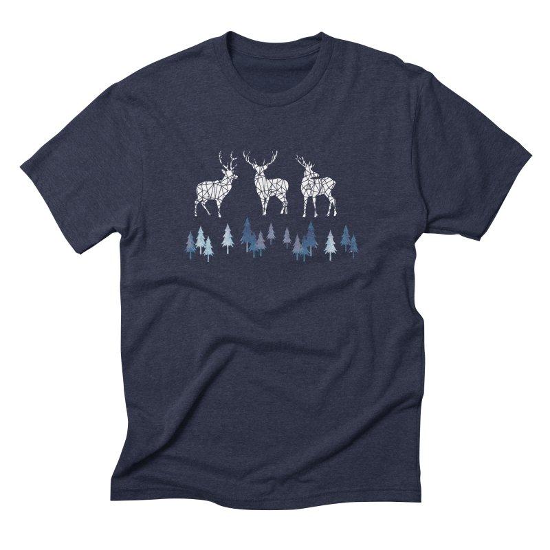 Snow deer navy blue Men's Triblend T-Shirt by AdenaJ