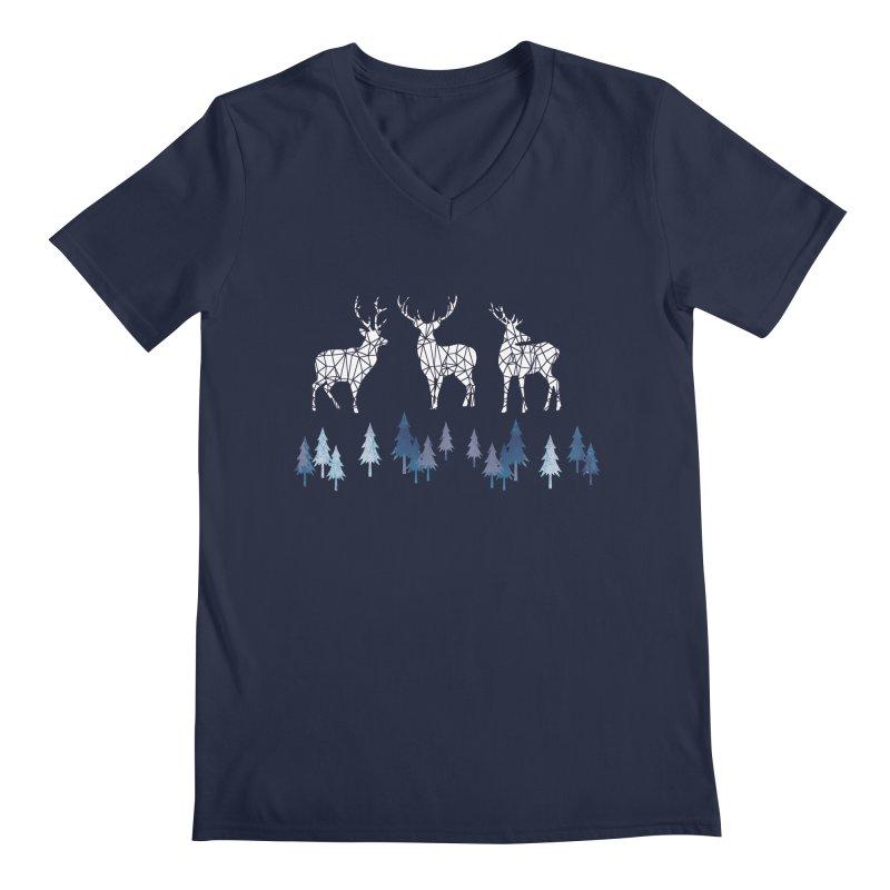 Snow deer navy blue Men's Regular V-Neck by AdenaJ
