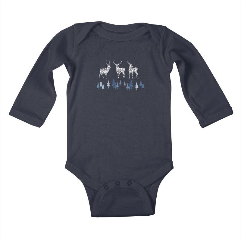 Snow deer navy blue Kids Baby Longsleeve Bodysuit by AdenaJ