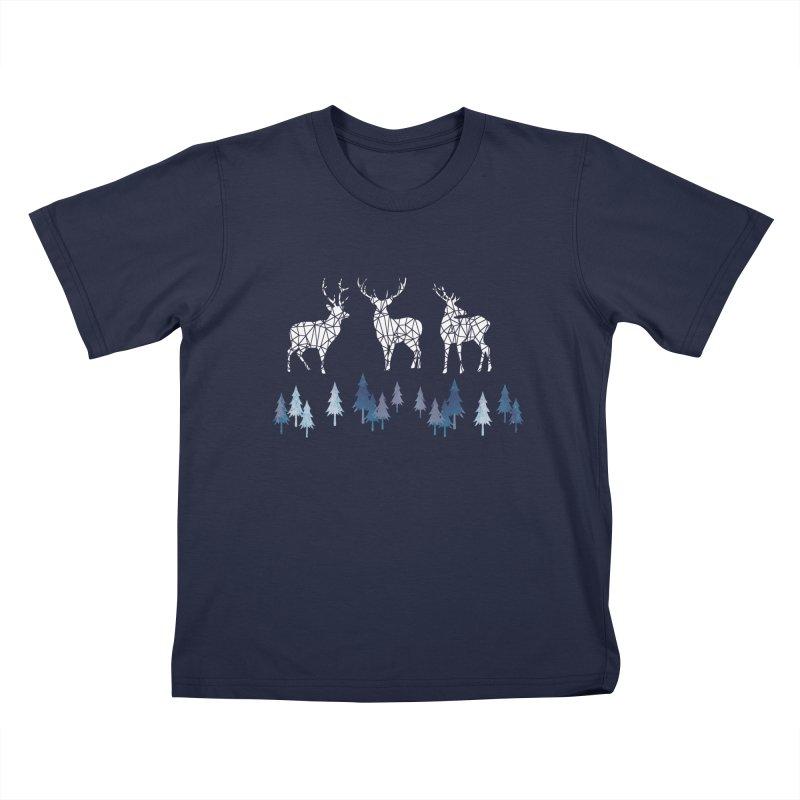 Snow deer navy blue Kids T-Shirt by AdenaJ