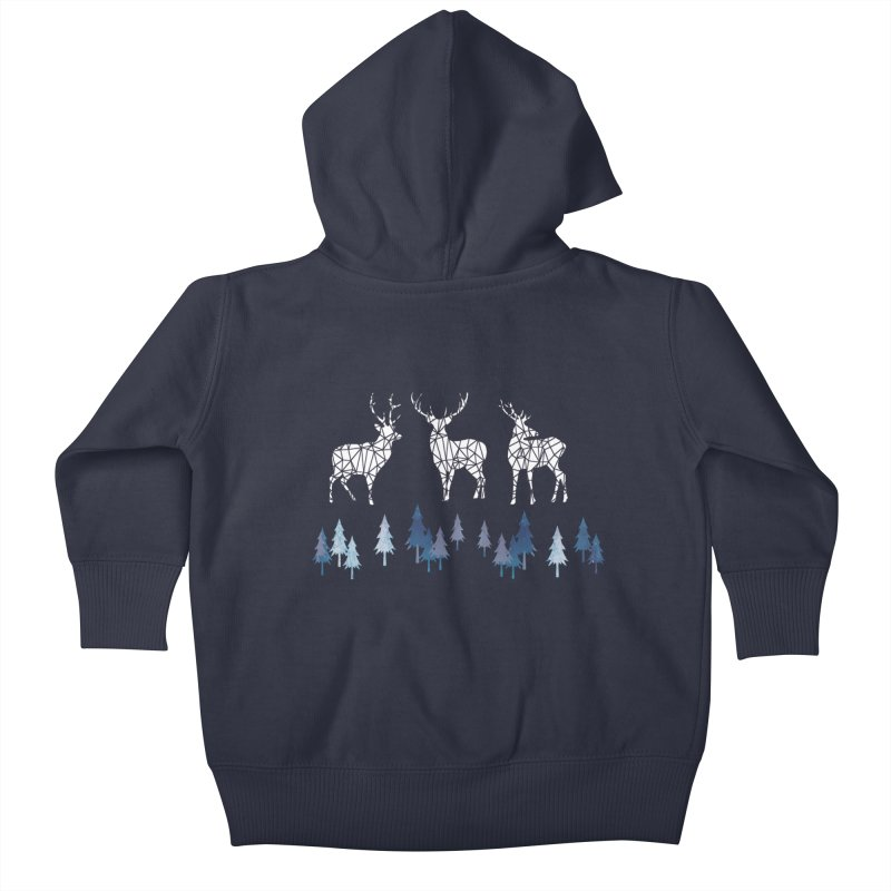 Snow deer navy blue Kids Baby Zip-Up Hoody by AdenaJ