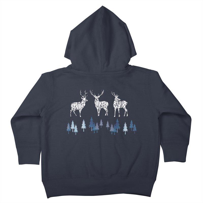 Snow deer navy blue Kids Toddler Zip-Up Hoody by AdenaJ