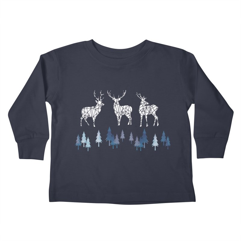 Snow deer navy blue Kids Toddler Longsleeve T-Shirt by AdenaJ