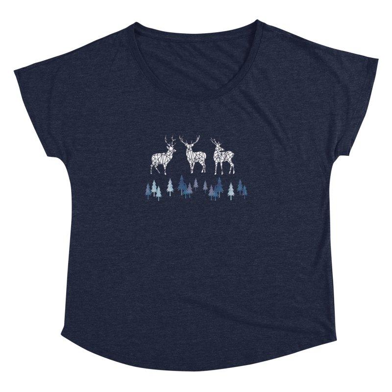 Snow deer navy blue Women's Dolman Scoop Neck by AdenaJ
