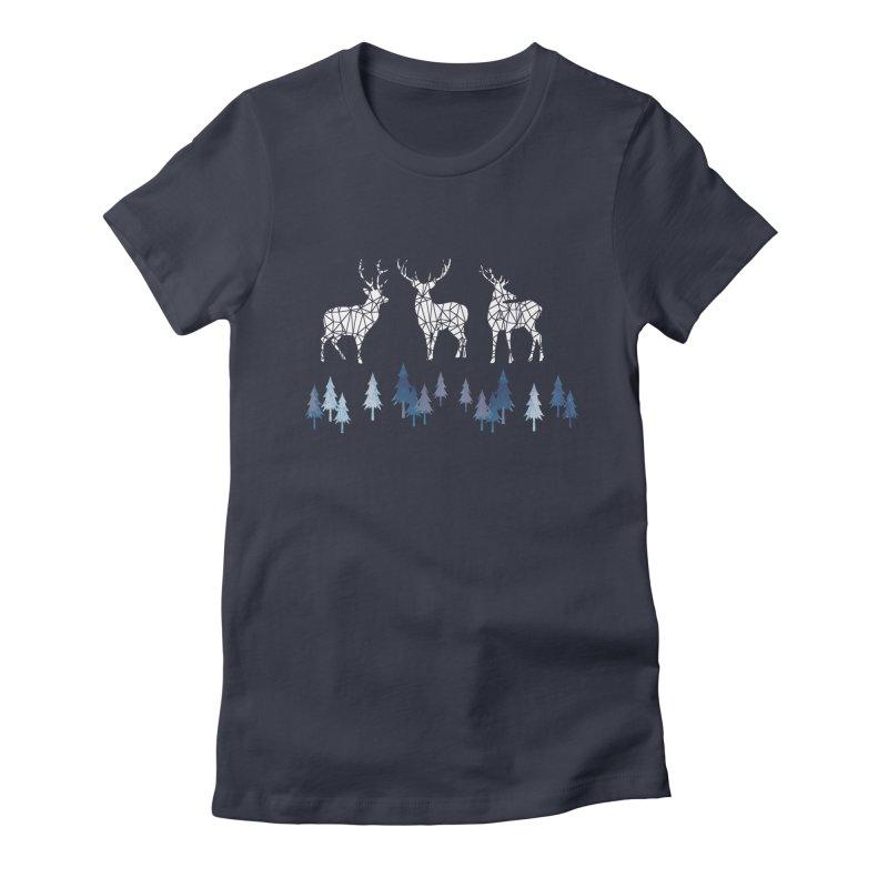 Snow deer navy blue Women's Fitted T-Shirt by AdenaJ