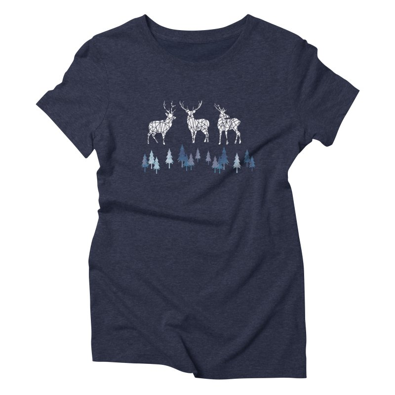 Snow deer navy blue Women's Triblend T-Shirt by AdenaJ