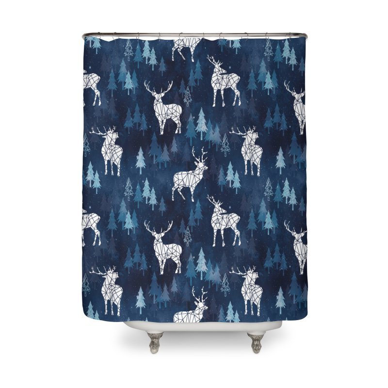 Snow deer navy blue Home Shower Curtain by AdenaJ