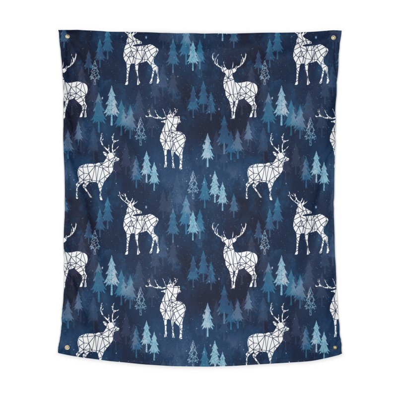 Snow deer navy blue Home Tapestry by AdenaJ