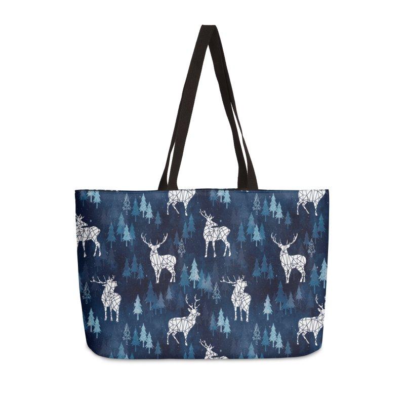 Snow deer navy blue Accessories Weekender Bag Bag by AdenaJ