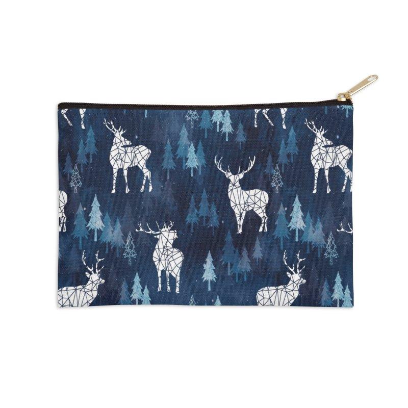 Snow deer navy blue Accessories Zip Pouch by AdenaJ