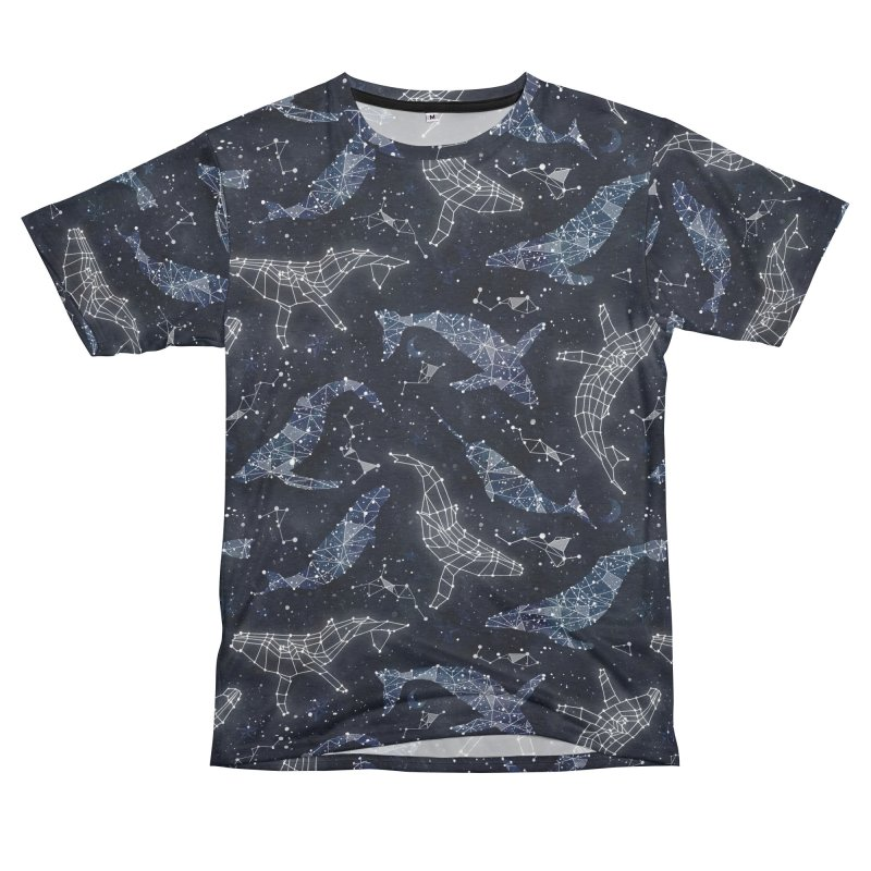 Whale constellations Women's Unisex French Terry T-Shirt Cut & Sew by AdenaJ