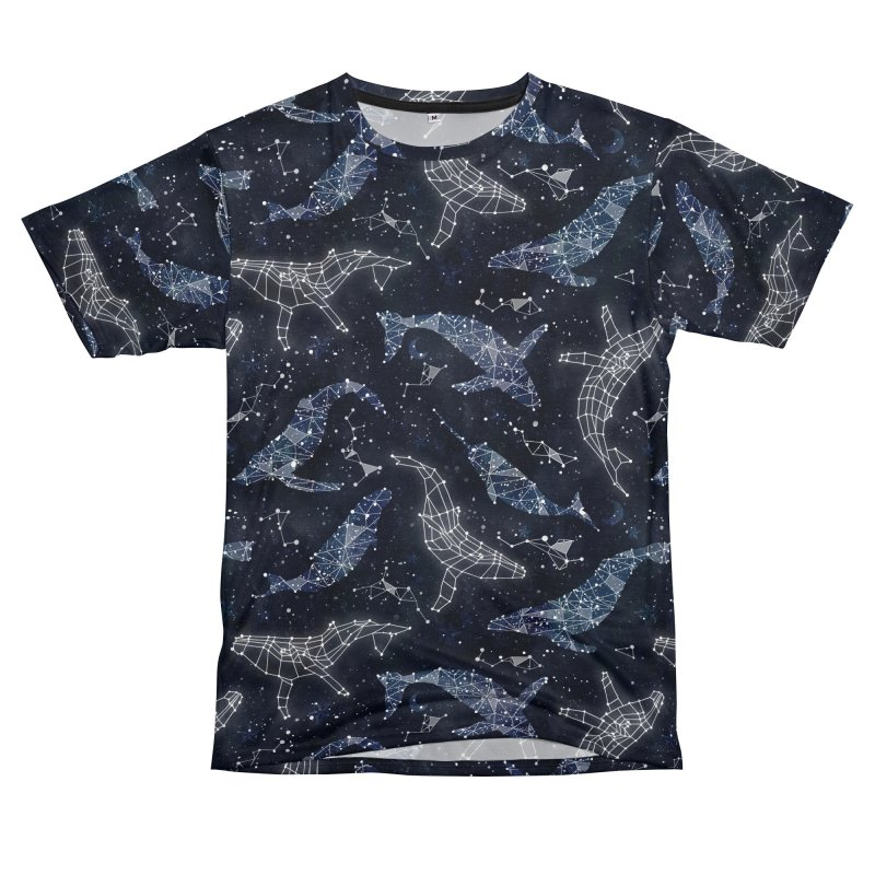 Whale constellations Women's Unisex T-Shirt Cut & Sew by AdenaJ