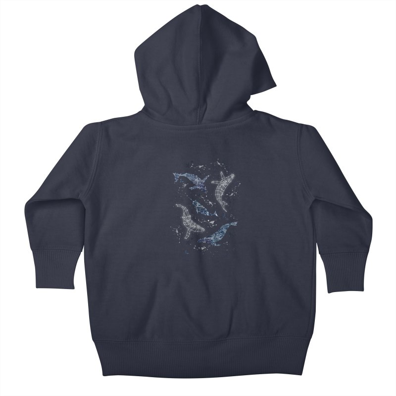 Whale constellations Kids Baby Zip-Up Hoody by AdenaJ