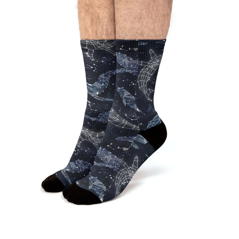 Whale constellations Men's Crew Socks by AdenaJ