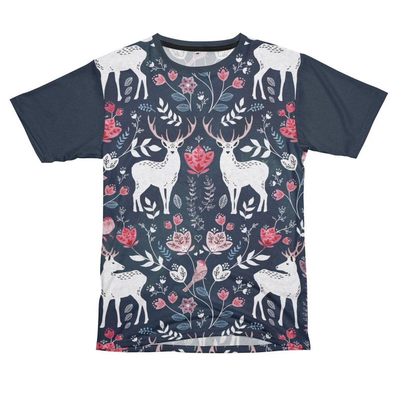 Scandinavian Deer Men's French Terry T-Shirt Cut & Sew by AdenaJ