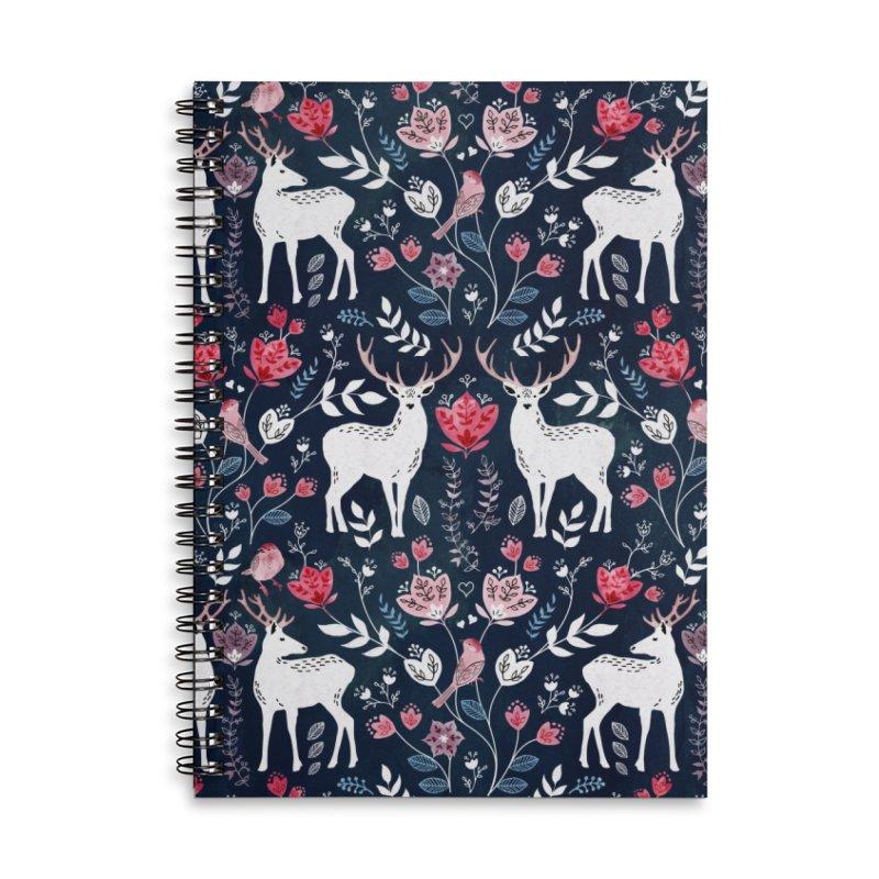 Scandinavian Deer Accessories Lined Spiral Notebook by AdenaJ
