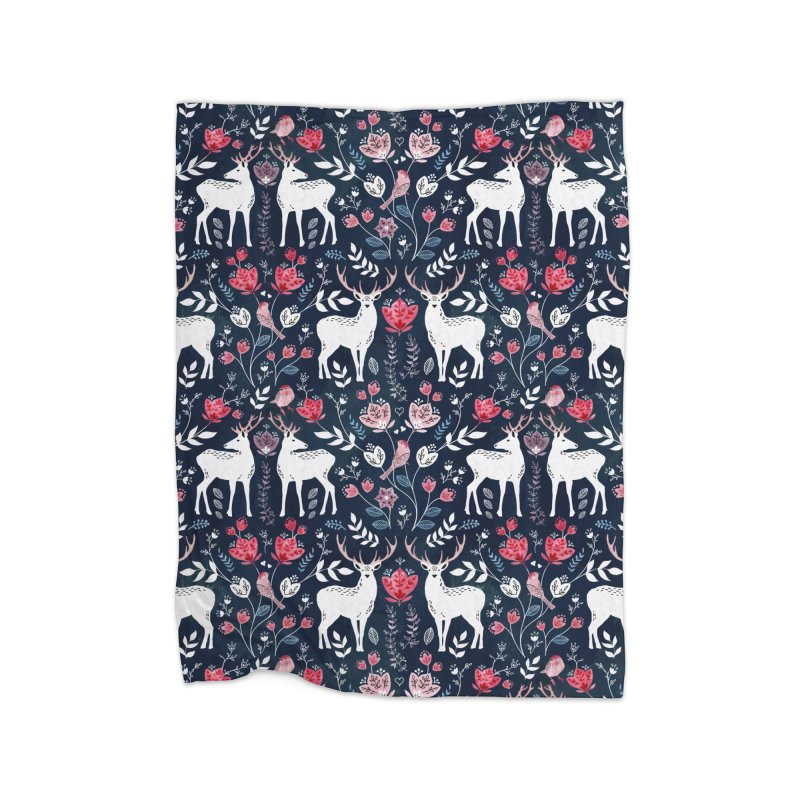 Scandinavian Deer Home Fleece Blanket Blanket by AdenaJ