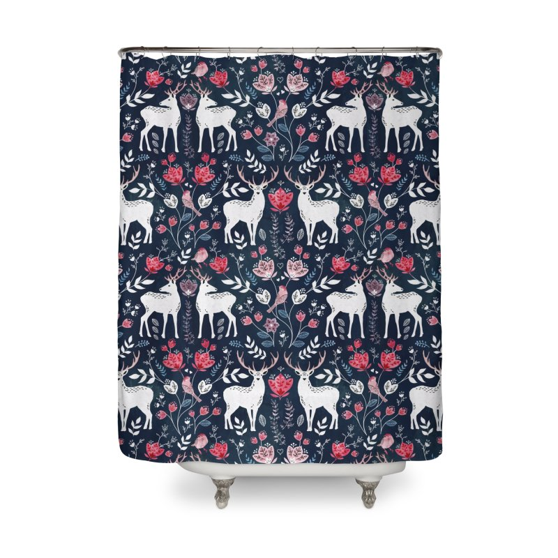 Scandinavian Deer Home Shower Curtain by AdenaJ