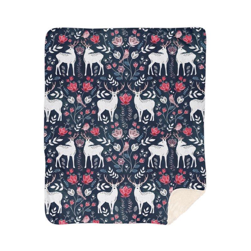 Scandinavian Deer Home Sherpa Blanket Blanket by AdenaJ