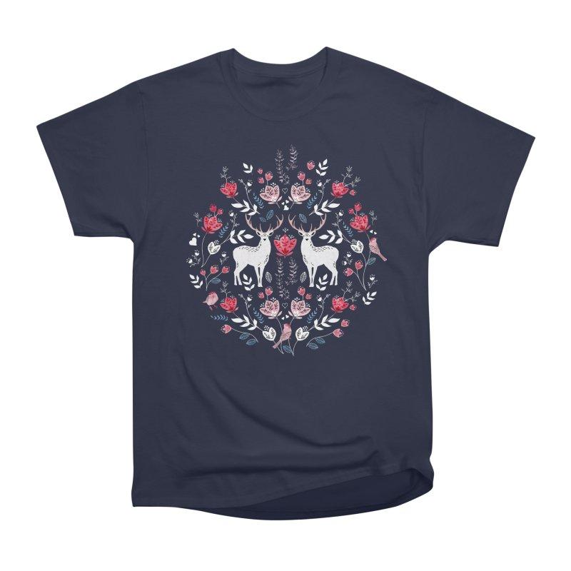 Scandinavian Deer Women's Heavyweight Unisex T-Shirt by AdenaJ