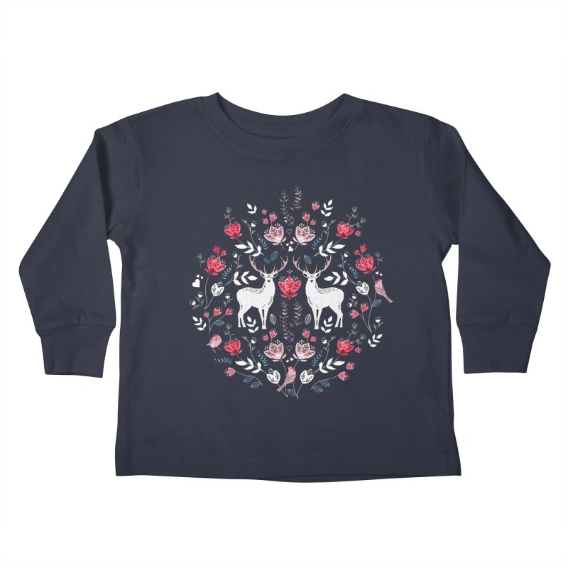 Scandinavian Deer Kids Toddler Longsleeve T-Shirt by AdenaJ