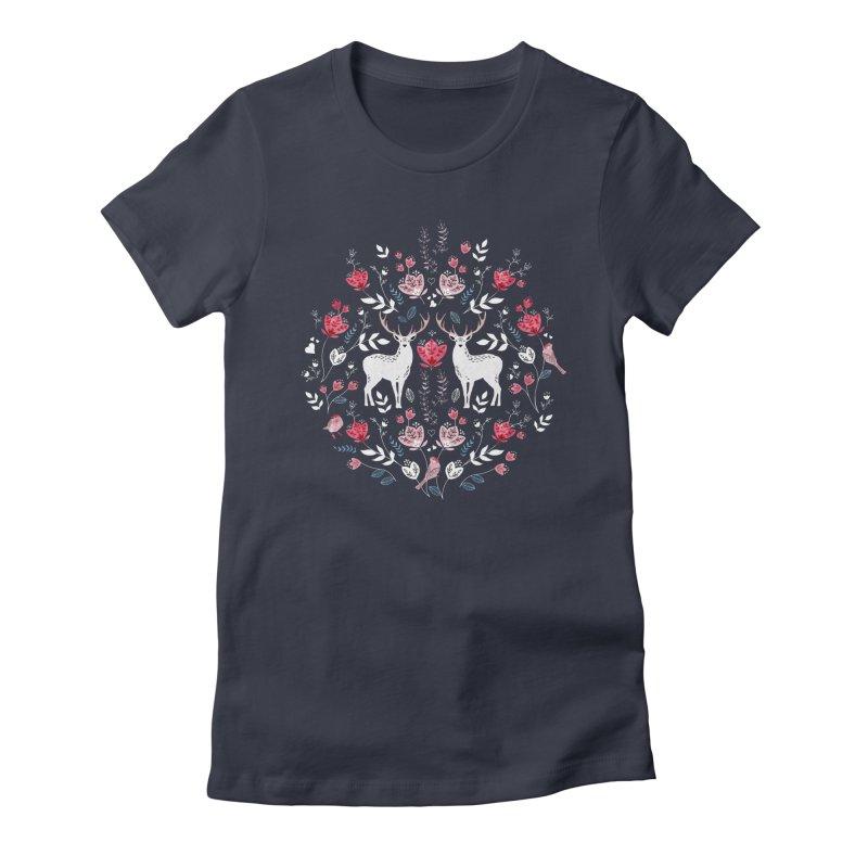 Scandinavian Deer Women's Fitted T-Shirt by AdenaJ