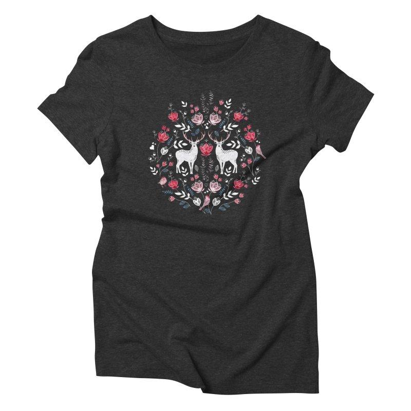 Scandinavian Deer Women's Triblend T-Shirt by AdenaJ