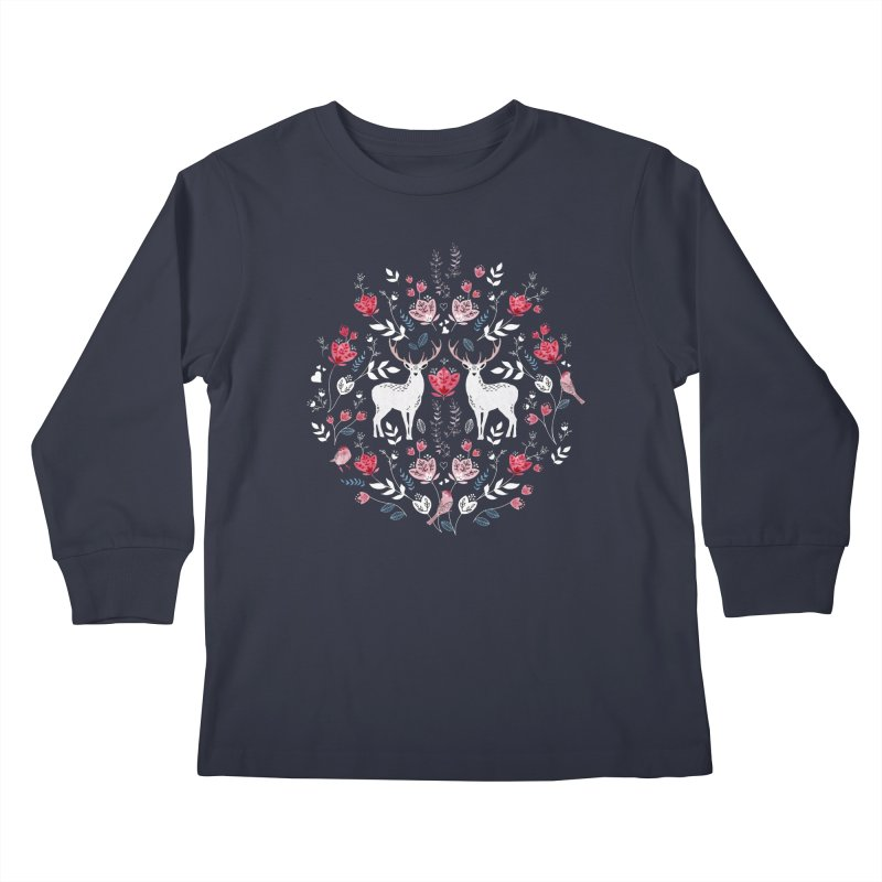 Scandinavian Deer Kids Longsleeve T-Shirt by AdenaJ
