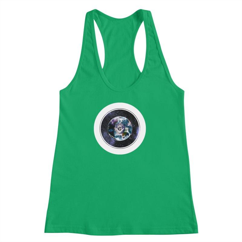 Illuminati and Freemasons Space Symbol Women's Racerback Tank by AdventGuard