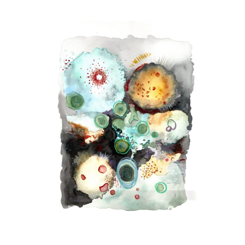 Microbio Watercolor Home Fine Art Print by Andrea Jennings