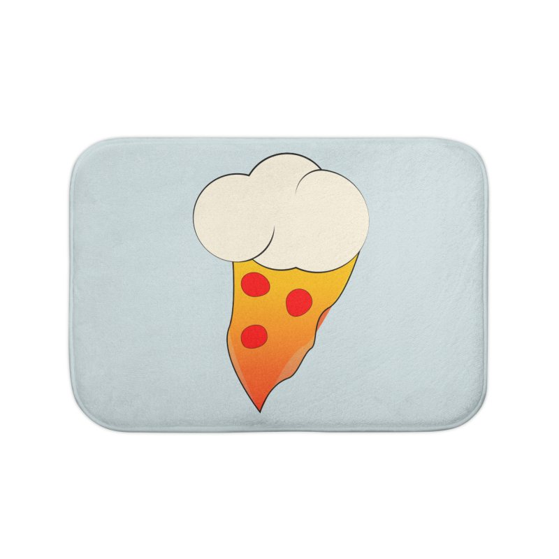 Cloudy with a Chance of Pizza Home Bath Mat by The Agora