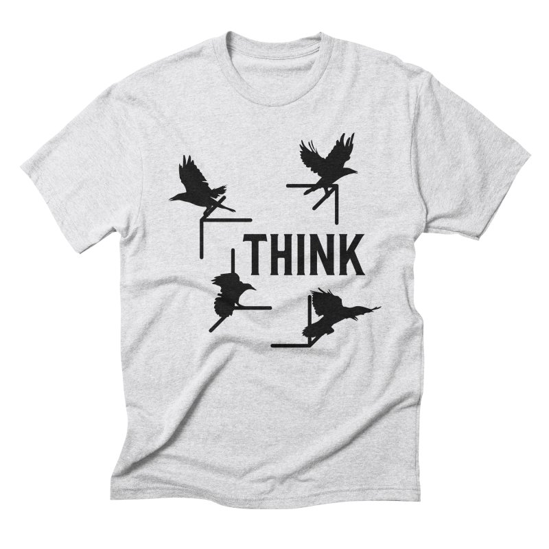 Think in Men's Triblend T-Shirt Heather White by The Agora