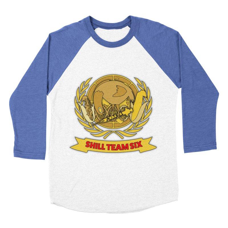 Shill Team Six in Men's Baseball Triblend Longsleeve T-Shirt Tri-Blue Sleeves by The Agora