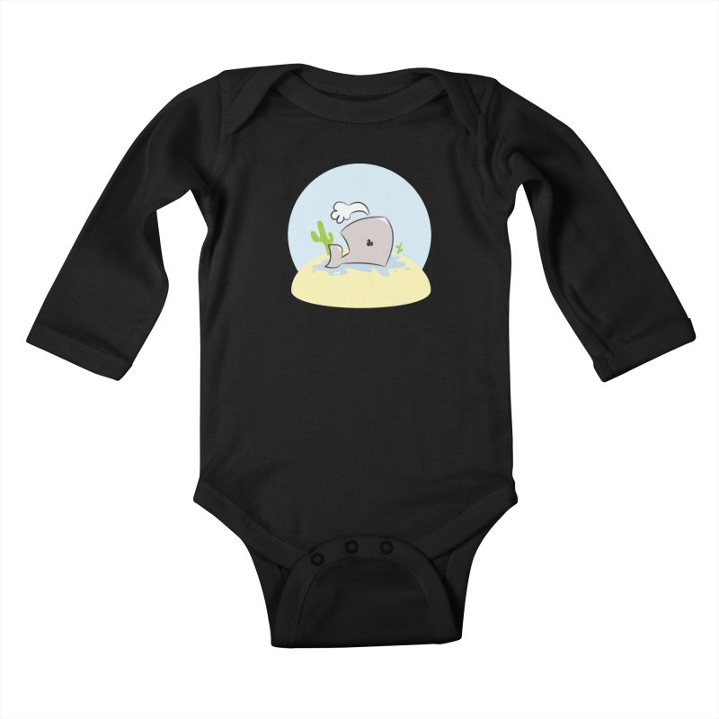 Deserted Whale Kids Baby Longsleeve Bodysuit by Alaabahattab's Artist Shop