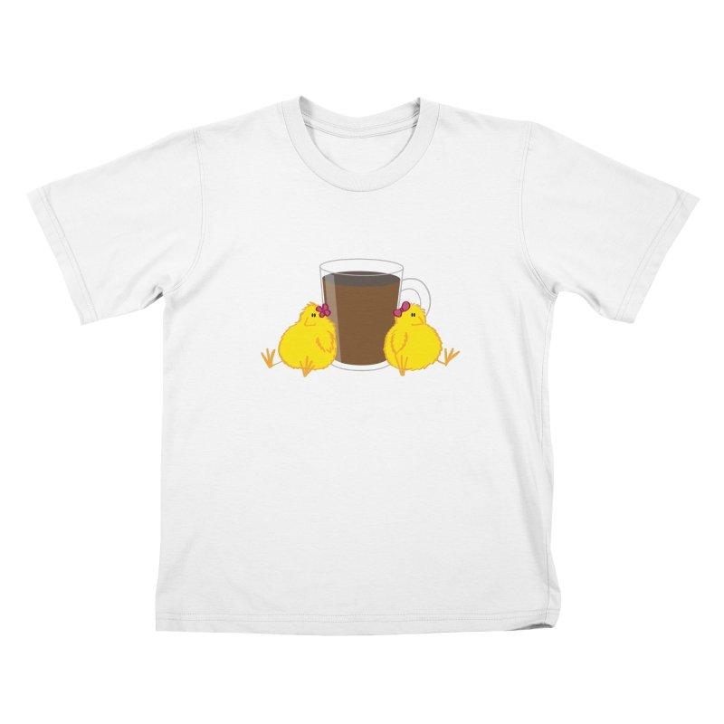 2 chicks 1 cup Kids T-Shirt by Alaabahattab's Artist Shop