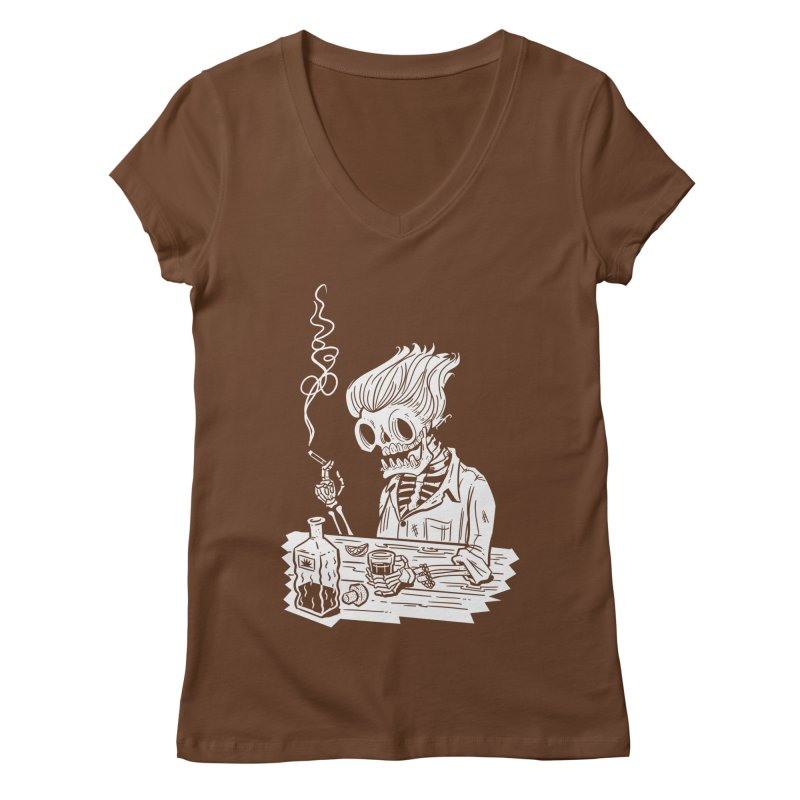 Tequila Sunset Women's Regular V-Neck by Illustrator and Designer Alan Defibaugh's Shop