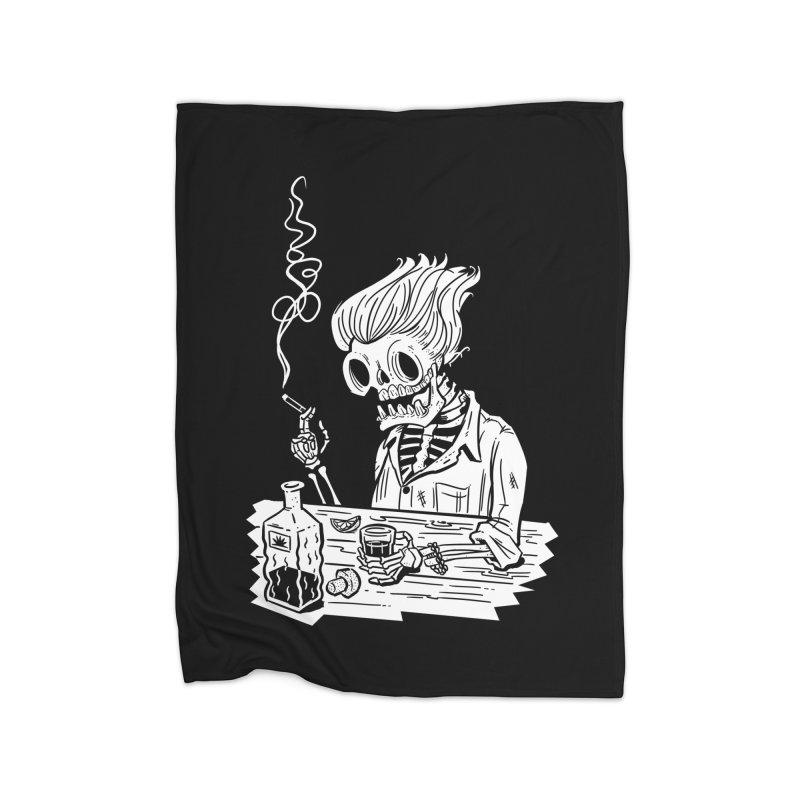 Tequila Sunset Home Fleece Blanket Blanket by Illustrator and Designer Alan Defibaugh's Shop