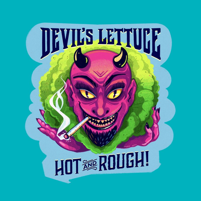 The Devil's Lettuce is Hot & Rough Home Shower Curtain by Illustrator and Designer Alan Defibaugh