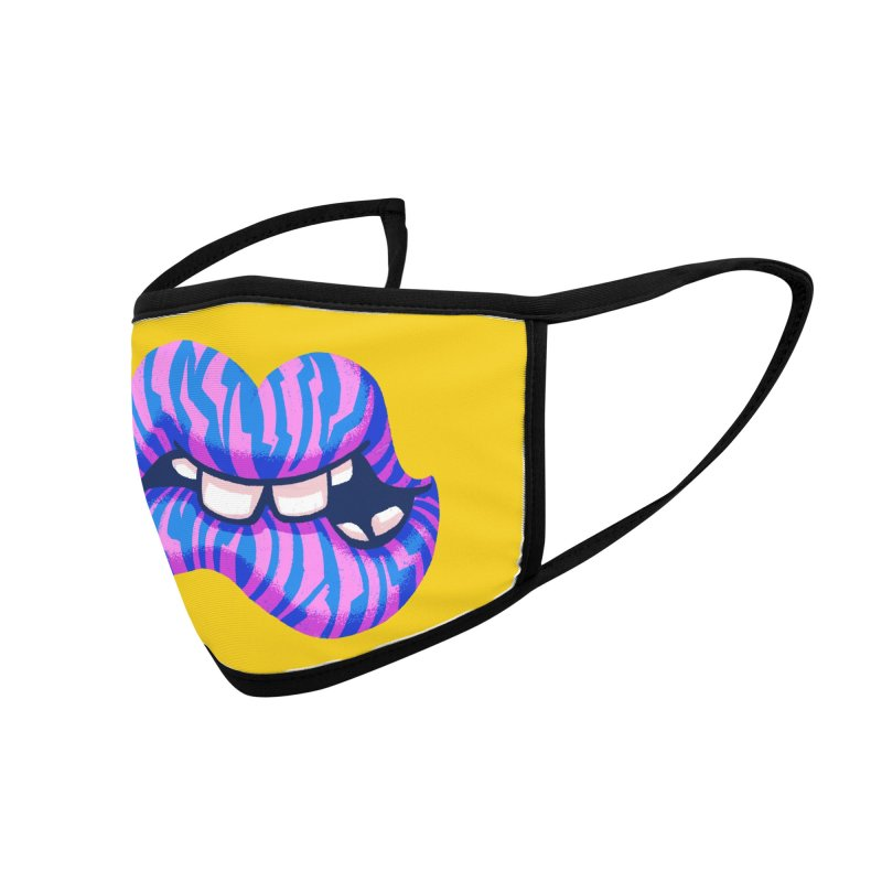 Pink & Blue Zebra Lips Accessories Face Mask by Illustrator and Designer Alan Defibaugh