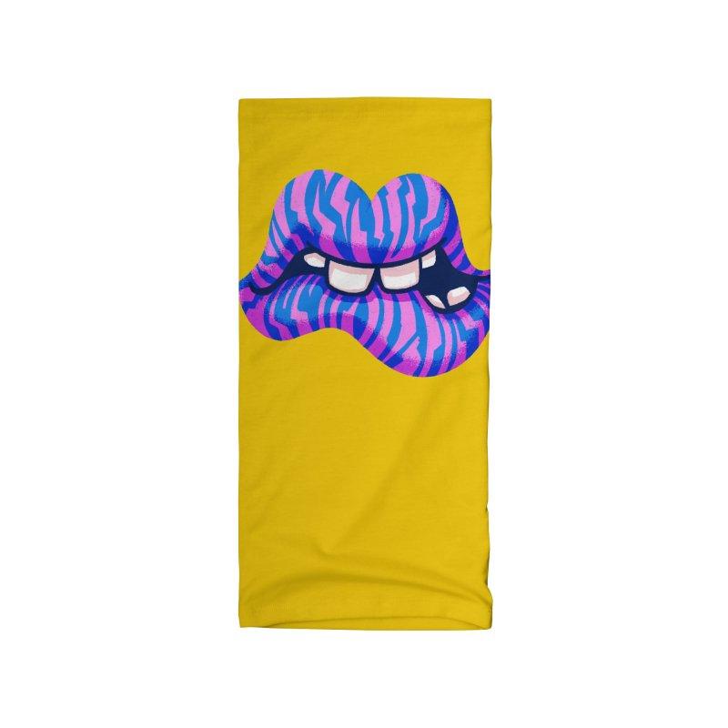 Pink & Blue Zebra Lips Accessories Neck Gaiter by Illustrator and Designer Alan Defibaugh