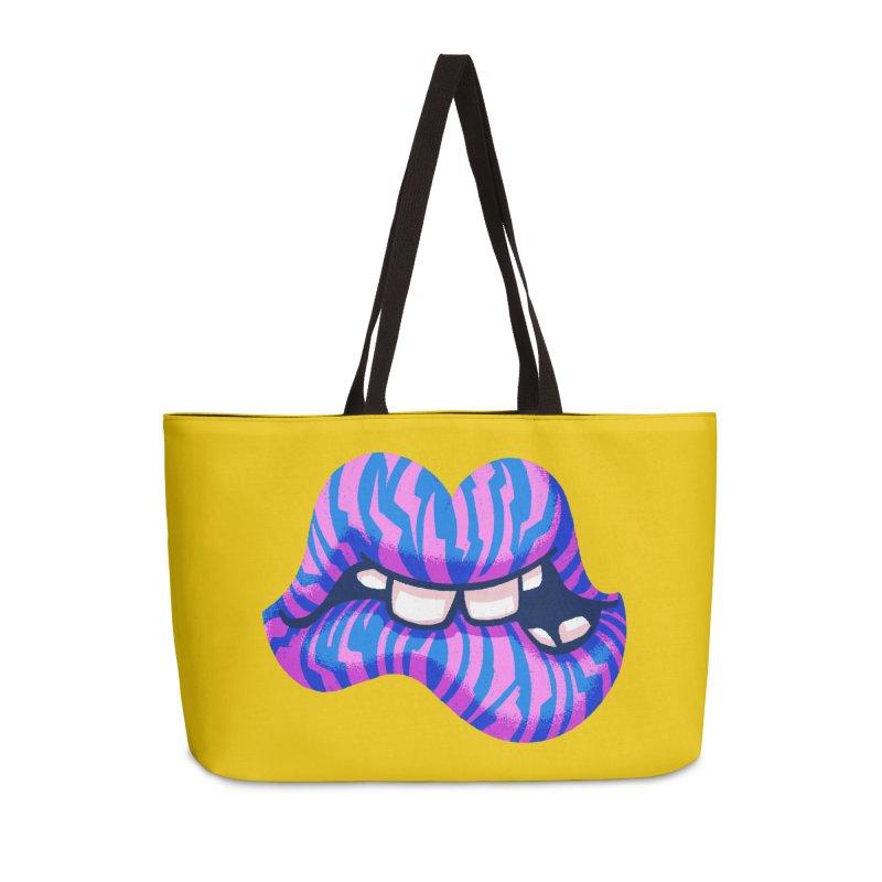 Pink & Blue Zebra Lips Accessories Bag by Illustrator and Designer Alan Defibaugh