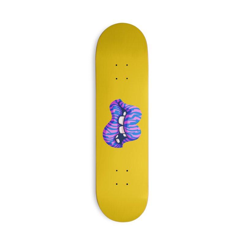Pink & Blue Zebra Lips Accessories Skateboard by Illustrator and Designer Alan Defibaugh