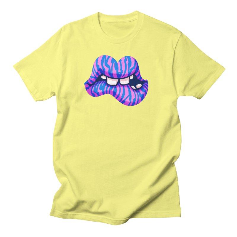 Pink & Blue Zebra Lips Men's T-Shirt by Illustrator and Designer Alan Defibaugh