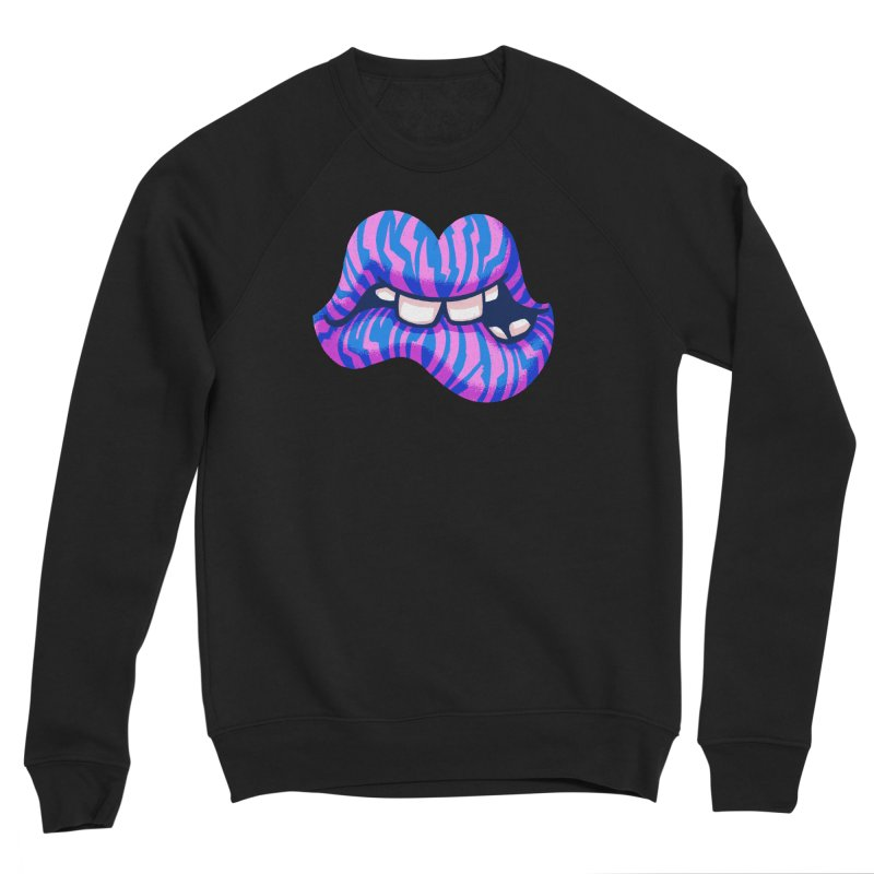 Pink & Blue Zebra Lips Women's Sweatshirt by Illustrator and Designer Alan Defibaugh