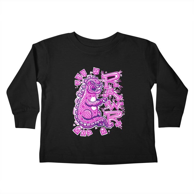 Kaiju Going Rawr! Kids Toddler Longsleeve T-Shirt by Illustrator and Designer Alan Defibaugh