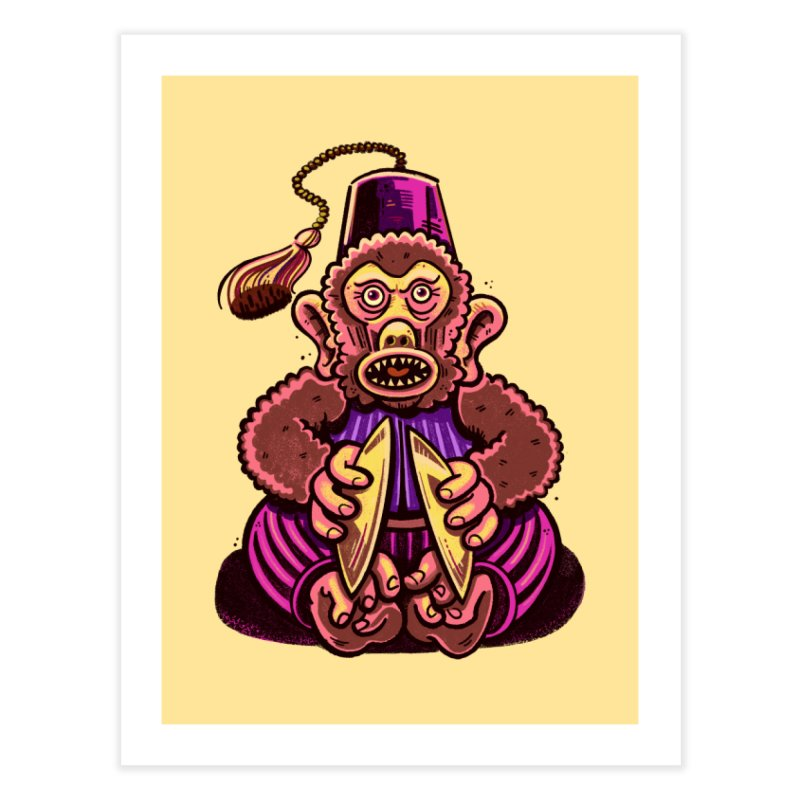 Cymbal Monkeys Are Creepy Home Fine Art Print by Illustrator and Designer Alan Defibaugh